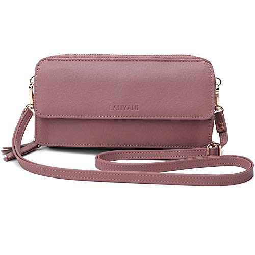 Crossbody Wallet Purse RFID Blocking CellPhone Small Shoulder Bag With Wristlet Strap For Women Ladies Girls Vegan Leather (pink cloth)