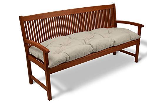 Cuscino per panca da giardino spesso per 2 – 3 posti, per interni ed esterni, mobili di ricambio per panca da pranzo, comodo materasso, 120 x 50 x 8 cm, beige