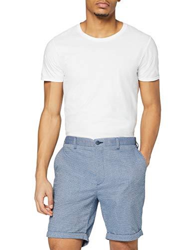 Amazon-Marke: find. Shorts Herren Slim Fit mit Strukturmuster, Blau (Blue Tile Mix), XL, Label: XL