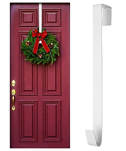 Rucoe Colgador de Corona para Puerta Delantera - Gancho de Corona de 38 cm Fuerte y Resistente, Colgador de Corona de Puerta para Hogar/Oficina/Navidad/Pascua para Colgar Varias Decoraciones(Blanco)