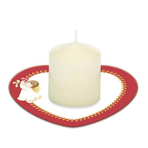 THUN  - Candela con piattino Porta Candela a Forma di Cuore Dolce Natale