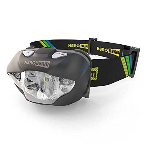 HeroBeam LED Head Torch - Pocket-Sized Headlamp for Running, Dog Walking, Fishing, Biking, Camping, Watching Nature, Reading, Cycling or DIY - White/Red Lighting Modes - Lightweight, Comfortable and Weatherproof - includes 3 x AAA Quality Brand Batteries