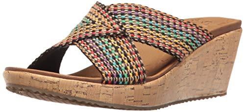 Skechers Cali Women#039s Beverlee Delighted Wedge Sandal Multi 10 BM US