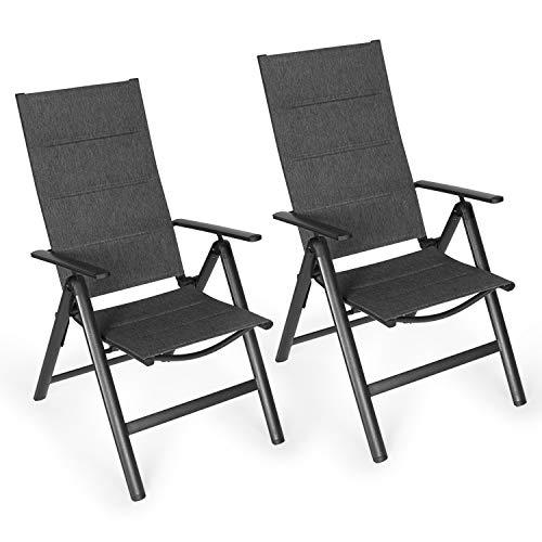 Vanage VG-5302 Alu Gartenstuhl in Melange, schwarzer Rahmen-Klappstuhl im 2er Set-Hochlehner-Klappsessel-Gartenmöbel-Stuhl für Garten, Terrasse und Balkon geeignet, Doppel Spar