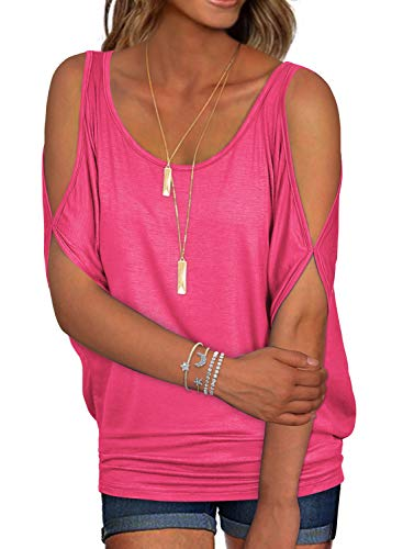 Ranphee Womens Summer Hot Pink Cold Shoulder Tops Casual Scoop Neck Loose Fit T Shirt L