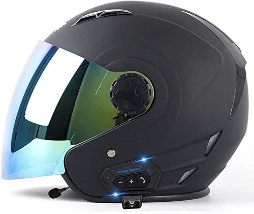 Casco De Motocicleta Bluetooth Con Visera Medio Casco Casco Abierto De Motocicleta Casco De Moto Retro Cruiser Aprobado Por ECE/DOT Casco De Moto B,S