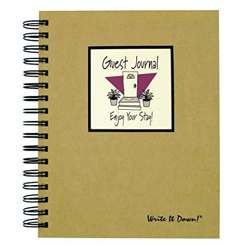 "Journals Unlimited ""Write it Down!"" Series Guided Journal, Guest Journal, Enjoy Your Stay!, with a Kraft Hard Cover, Made of Recycled Materials, 7.5""x 9"""