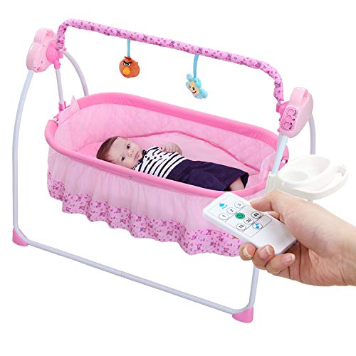 WBPINE Baby Swing Cradle, Automatic Baby Bassinets Swing Crib for Boys and Girls with Music (Pink)