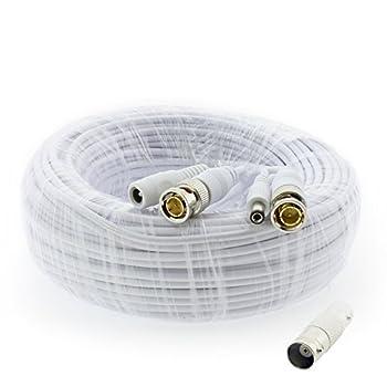 Crystal Vision Premium 1080P HD BNC CCTV Surveillance Security Camera Combo Cable Premade Siamese W/Coupler for Samsung Lorex Swann Q-See Defender Amcrest Zosi Kguard etc 60