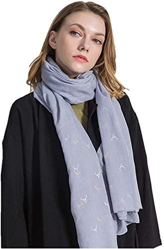 CHEDENG Envoltura de Chal de Bufanda de Cuello de Moda Bufandas de Las Mujeres algodón y Ropa de Cama Impresa Larga y cómoda Bufanda (Color : Blue)