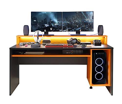 lifestyle4living Gamer-Schreibtisch in Schwarz/Orange, 160 x 72 cm | Computerschreibtisch mit Monitoraufsatz und Regal-Fächern