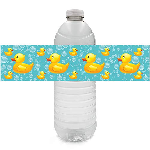 Rubber Ducky Bubble Bath Baby Shower Water Bottle Labels - 24 Stickers