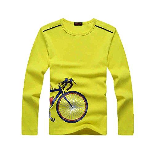 KID1234 T-Shirt für Jungen, für Sommer, kurzärmlig, aus Baumwolle, Rundhalsausschnitt, einfarbig, Geschenk für Kinder und Jugendliche Gr. 120 cm(6 Jahre), gelb