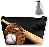 女性と女の子のトイレタリーポーチかわいいファッションポータブル化粧品バッグオーガナイザー収納バッグ(ビーチファニーブラジルフレンチブルドッグ)-野球ブラックホワイトストライプ