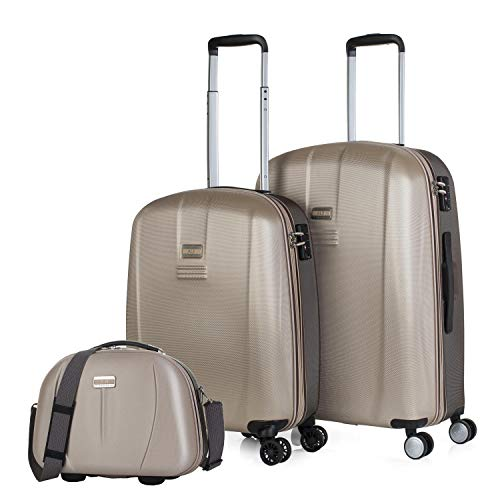 JASLEN - Maletas de Viaje 4 Ruedas y Neceser 3 pzs. Set Trolley ABS 4 Ruedas Cabina + Mediana + Neceser Rígidas y Resistentes. Conjunto Equipaje Avión. TSA 56515b, Color Dorado-Marrón