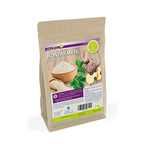 Konjakmehl 250g im Zippbeutel - Glutenfrei - feines Glucomannan Pulver - Premium Qualität