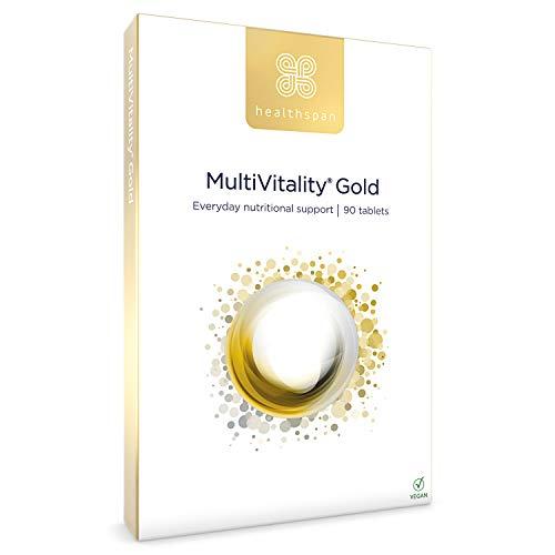 Multivitamin Gold | Healthspan | Multivitamin | Vitamin B12 | Vitamin C | Vitamin D3 | Calcium | Iron | Zinc | Vegan (90 Tables)