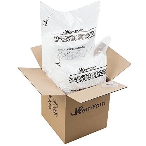 KemYom - Relleno para Puff – Bolitas de Poliestireno Expandido EPS - Gran Volumen y Densidad - Espuma con Memoria de Alta Recuperación - Perlas + Bolsa + Caja + Pinza - (50 litros)