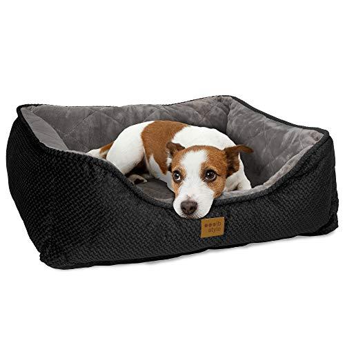 ib style® Happy Milo Hundebett | Körbchen für Hunde & Katzen | mit Reißverschluss | S / M / L / XL / XXL | 3 Farben | Schwarz