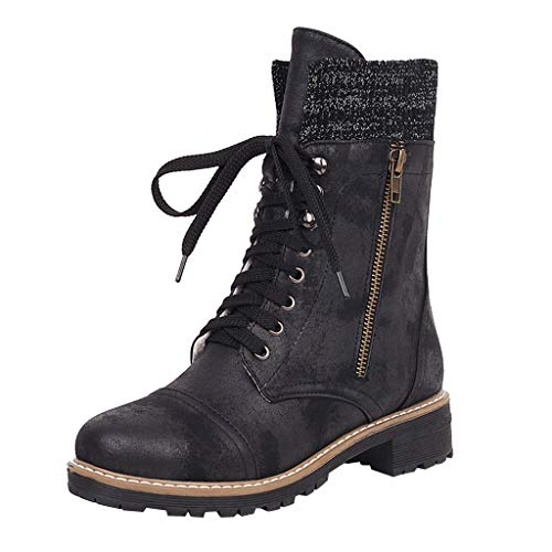 MINIKIMI Reitstiefel Damen Leder GüNstig Halbhoch Stiefel Vintage Klassische Stiefeletten Flach Boots Herbst Winter SchnüRung Cowboy Freizeit Outdoor Biker Boots