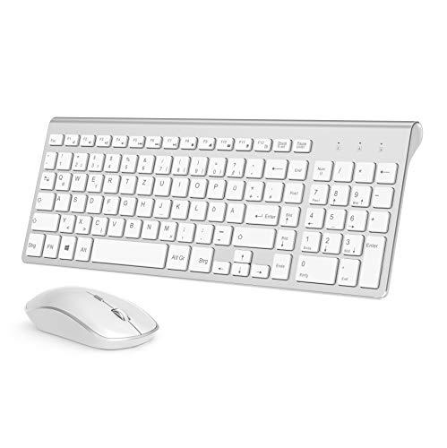 J JOYACCESS Tastatur und Maus,Ultra Dünne Tastatur und Maus Set Kabellos,Tastaturen Flach,2400DPI Ergonomisch Leise Funkmaus für PC/Laptop/Computer/Smart TV(QWERTZ, Deutsches Layout)-Silber und Weiß