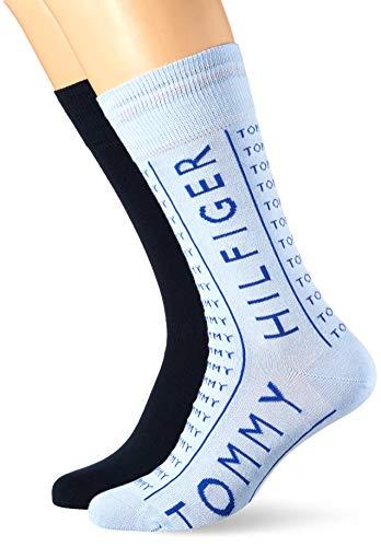 Tommy Hilfiger Mens Wording Men's (2 Pack) Socks, Light Blue, 43/46