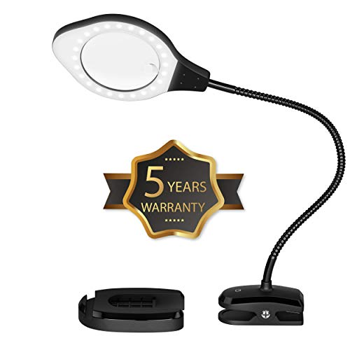 Magnifying Lamp with LED Light, 3 Brightness Settings, Adjustable Goose Neck, Weighted Bottom for Stability.