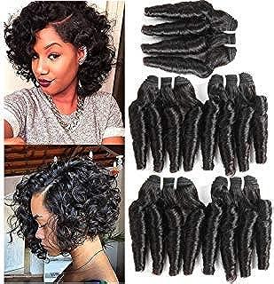 Molefi Brazilian Virgin Funmi Hair Bundles Spiral Curl Hair 5 Bundles Short Curly Weave 8A Unprocessed Brazilian Human Hair Extensions 50g/pc Full Head Natural Color (8inch 5Pcs)