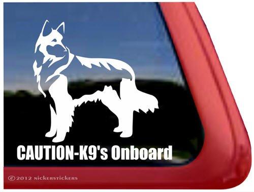 Caution - K9's Onboard ~ Shiloh Shepherd Dog Vinyl Window Decal Sticker