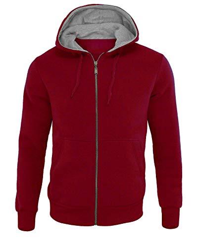 DEMONA Felpa da Uomo con Cappuccio Tasche E ZIPPO Zip Vari Colori Maglia Palestra Tuta Sport Casual Lavoro (Rosso, XXXL)