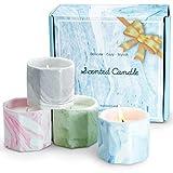 La bellefée velas perfumadas arománticas decorativas en taza de mármol 100% cera de soja aromaterapia regalos cumpleaños festivales
