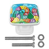 Perilla colorida del cajón de los números árabes de la serpiente para la estantería del aparador del gabinete del hogar 4PCS con los tornillos