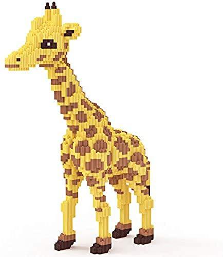 FJJF Giraffe Bausteine 3D Modell Bausteine Kit Kunststoff Backstein DIY Mini Diamantblöcke Gebäude Spielzeug Für Kinder Geschenke (4737 Stücke)