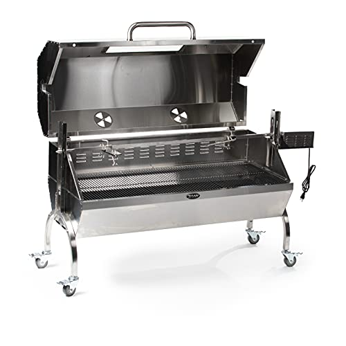 TITAN GREAT OUTDOORS 25W Stainless Steel Rotisserie Grill, Rated 125 LB, Hooded Cover Glass Window, BBQ Spit Roaster
