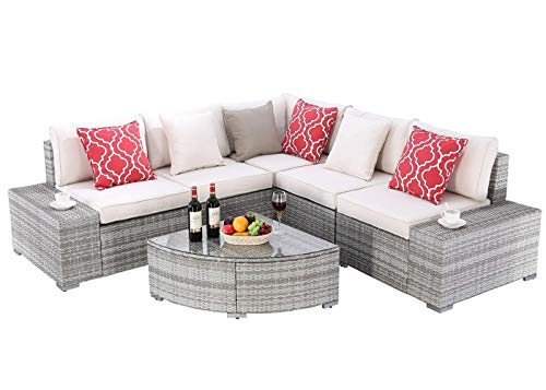 Do4U 6 Pieces Outdoor Patio Furniture Sectional Conversation Set, All-Weather Wicker Rattan Sofa Beige Seat & Back Cushions (Grey)