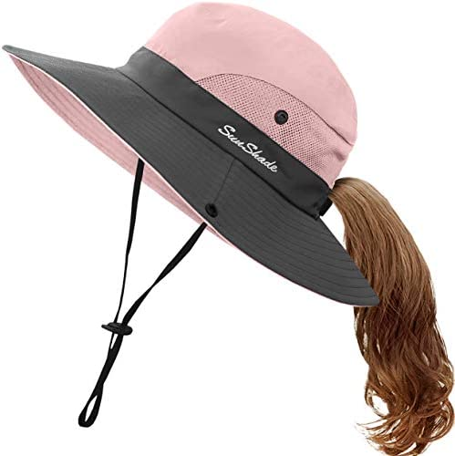 Kids UV Sun Hat with Ponytail Hole UPF 50 Bucket Cap for Girls Summer Beach Fishing M 5 12T product image