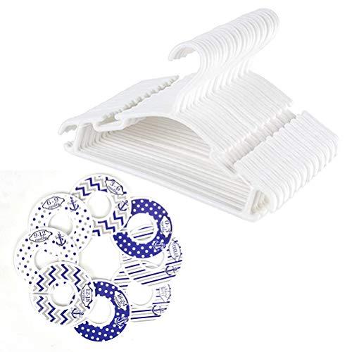 POKIENE Baby-Kleiderbügel und Kleiderschrank-Trenner, 40 Stück, weiß, Kunststoff, mit 8 Trennwänden für Baby-Kleidung, besonders platzsparend und rutschfest