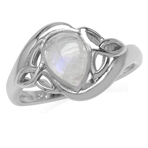 Silvershake Natural Pear Shape Moonstone White Gold Plated 925 Sterling Silver Triquetra Celtic Knot Ring Size 8