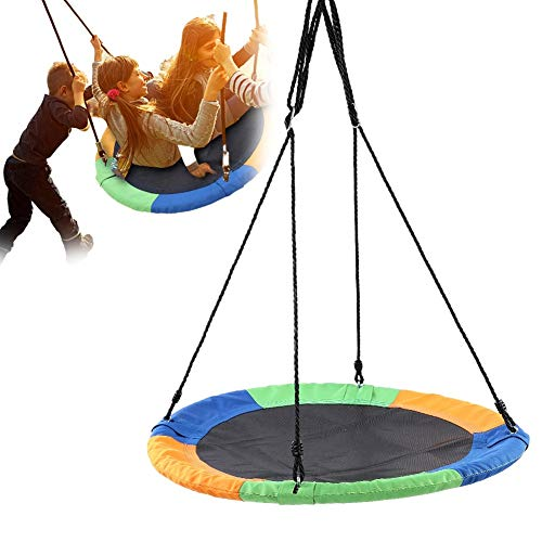 Filfeel Outdoor Swing Tree Hanging 40' Saucer Nest Swing Set Giant Round Leisure Mat Platform for Kids, 600D Multicolor Oxford Cloth