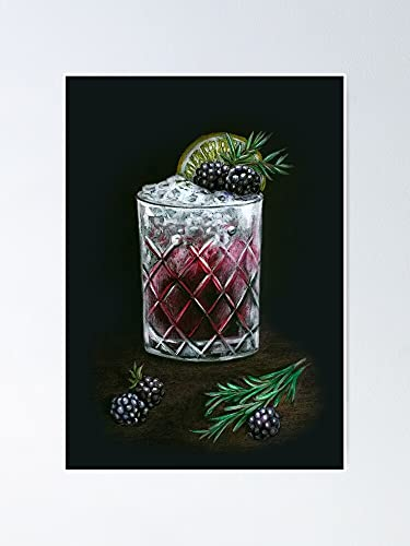 AZSTEEL Hand Drawn Bramble BlackBerry Cocktail On Black Background Poster   Best Gift for Family and Your Friends 12x17 Inch