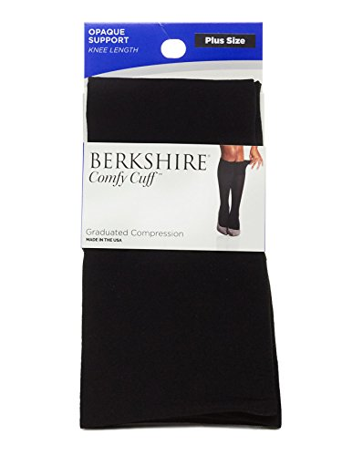 Berkshire Women's Plus Size Opaque Graduated Compression Trouser Sock, Black