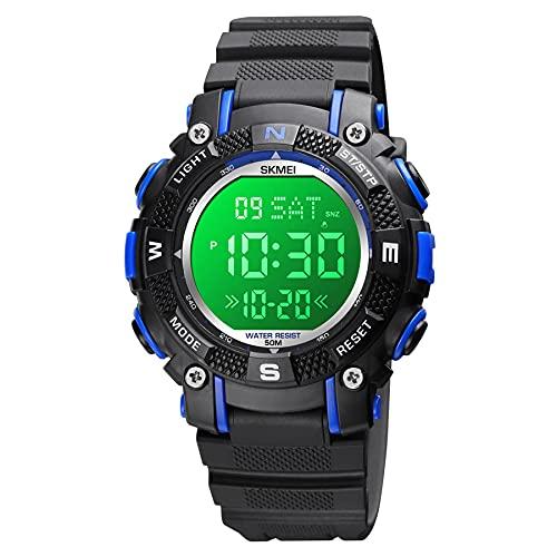 A ALPS Kinder Uhr,Sport Outdoor Kinderuhr Jungen mit Wecker/Kalender/LED-Licht/Countdown/Stoppuhr Silikon Armband Uhren,Digital 5ATM Wasserdicht Armbanduhr, Kids Lernuhr Blau