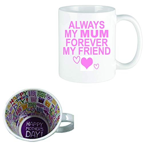 LBS4ALL - Taza con mensaje para el Día de la Madre, 315 ml, con texto en inglés 'Always My Mum Forever My Friend Mothers Day Inner'