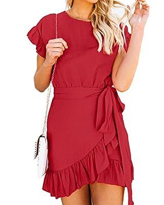 Yobecho Womens Summer Short Sleeve Ruffles Tunic Party Shift Wrap Short Dresses
