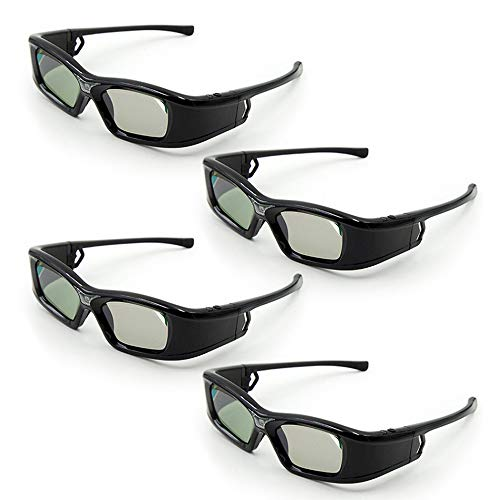 Docooler [4 Pezzi GL410 Occhiali 3D per proiettore Full HD Active Link DLP per Optama Acer BenQ ViewSonic Sharp proiettori dell DLP Link