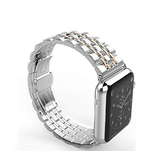 DYH&PW Correa de acero inoxidable compatible con Apple Watch Band de 44 mm, 40 mm, 42 mm/38 mm, accesorios compatibles con iWatch Series 3, 4, 5, 6 SE, oro rosa, 42 mm, 42 mm