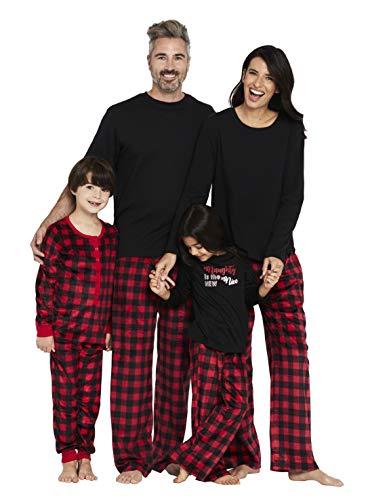 Karen Neuburger Women's Family Matching Christmas Holiday Pajama Sets PJ, Buffalo Plaid red Cherry/Black Onesie, Mom Small