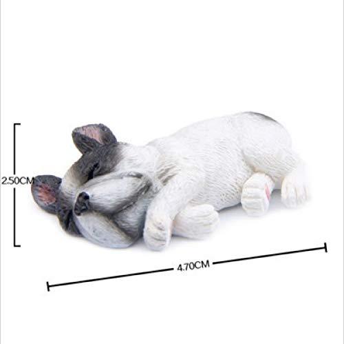 DIAOSUJIA sculptuur, witte hond zijde liggende hars Franse Bulldog figuur schattige kleine hond liggend model Shiba Inu hond miniaturen voor koelkast koelkast thuis decoratie