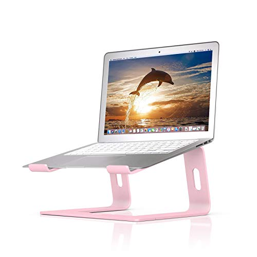 BoYata Laptop Stand: Dismountable with Ventilation, Portable Notebook Stand Compatible with Laptop (10 inch ~ 15.9 inch) MacBook Pro/Air, HP, Dell, Lenovo, Samsung, Acer, HUAWEI MateBook (Pink)