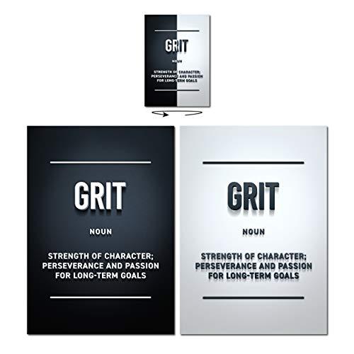 GREAT ART Póster Motivación - Grit - Fortaleza de carácter Objetivos Lograr el éxito Oficina Decoración moderna hogar Oficina Aniversario Regalo Impresión Cuadro pared 59.4x42cm